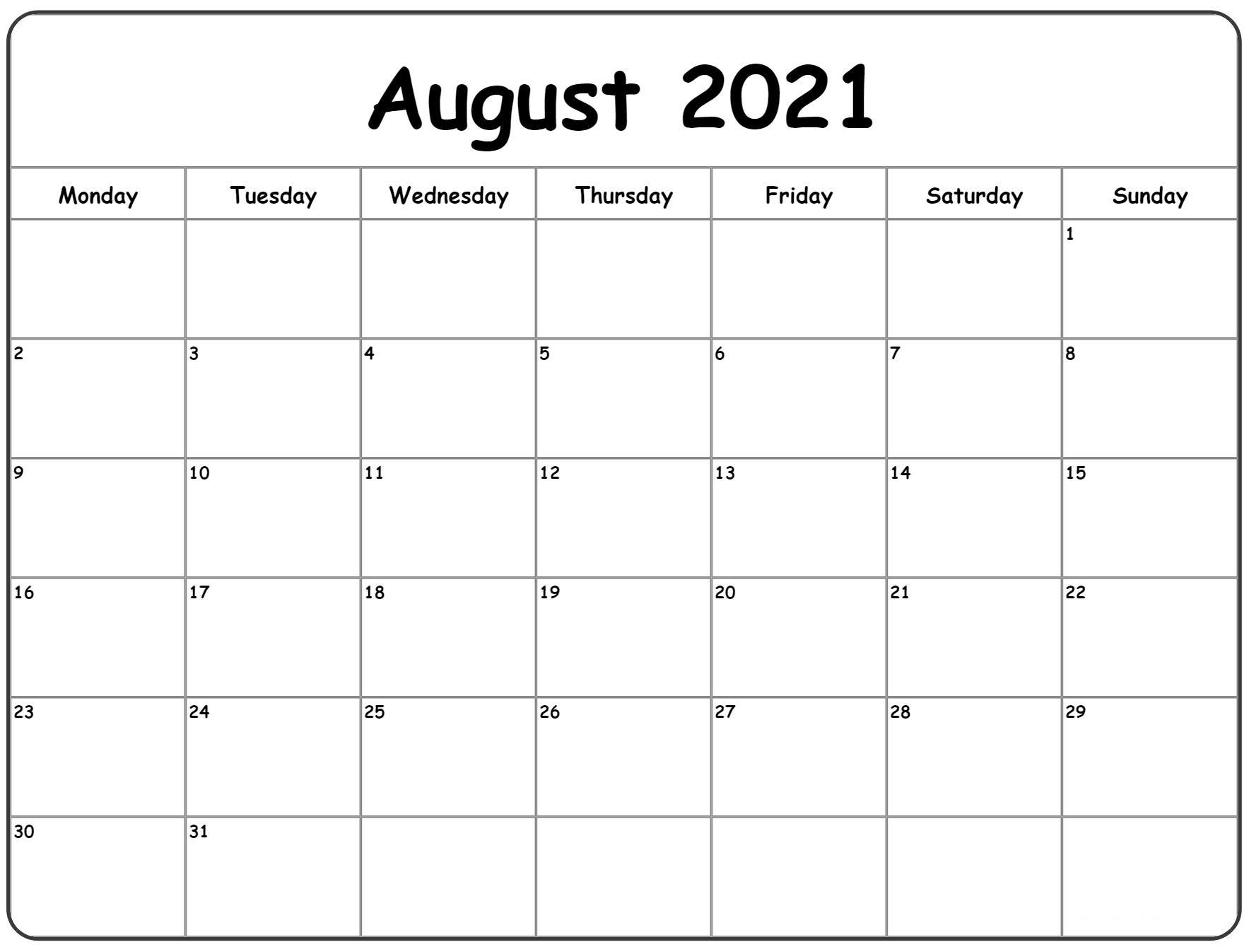 Blank Calendar August 2021 Pdf | Free Printable Calendar August 2021 Blank Calendar Printable