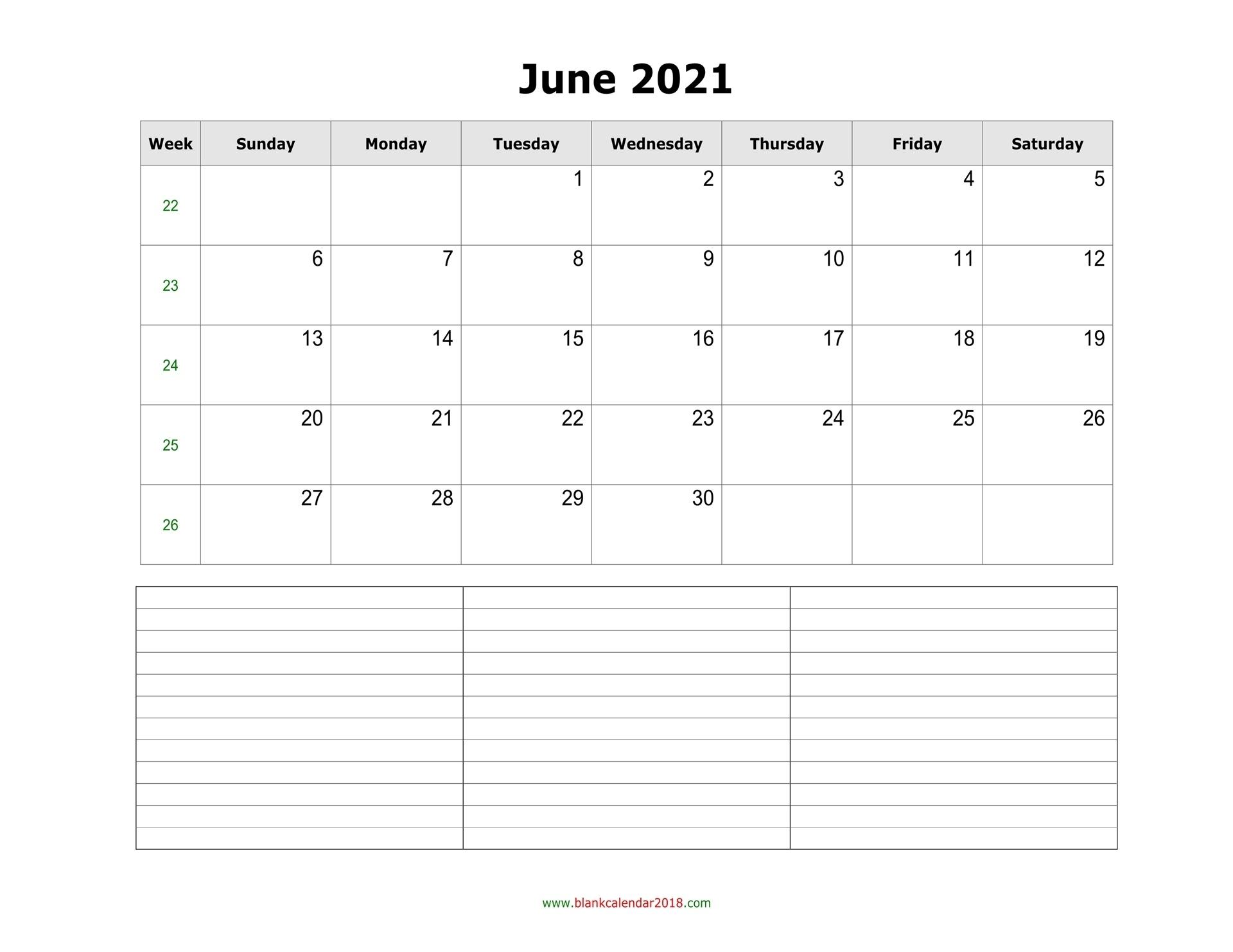 Blank Calendar For June 2021 Editable June 2021 Calendar