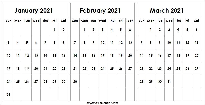 Blank January To March 2021 Calendar - A4 Calendar September 2020 To March 2021 Calendar
