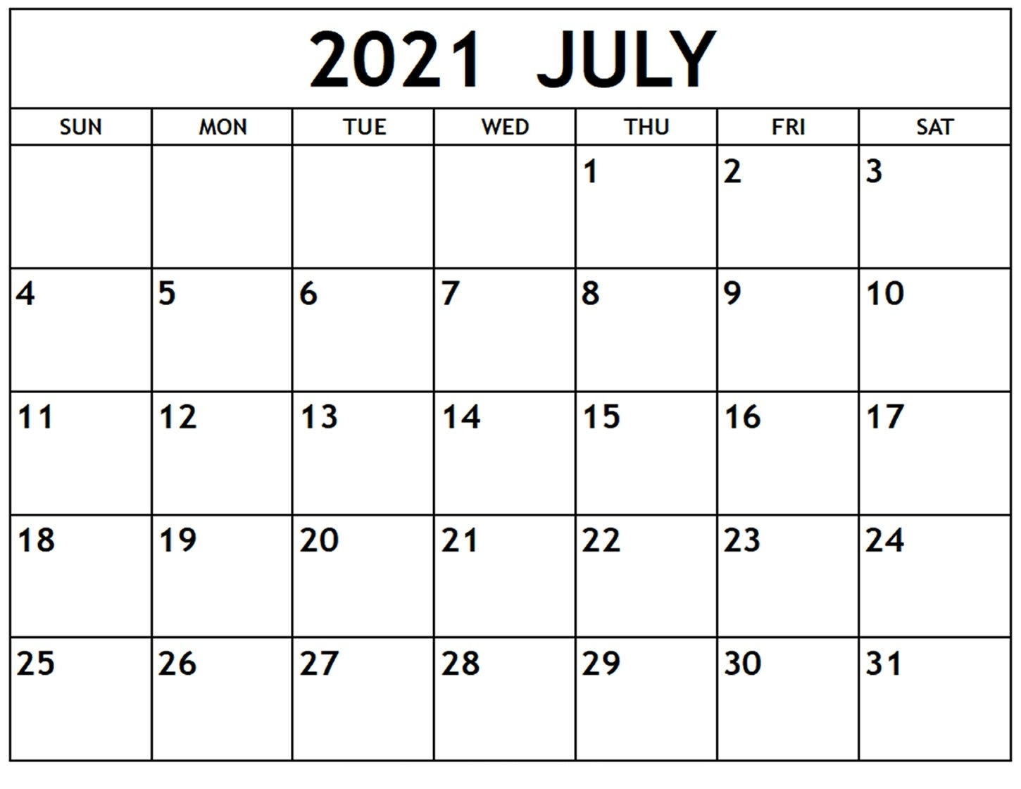 Blank July 2021 Calendar Editable Pdf - Thecalendarpedia Calendar For The Month Of July 2021