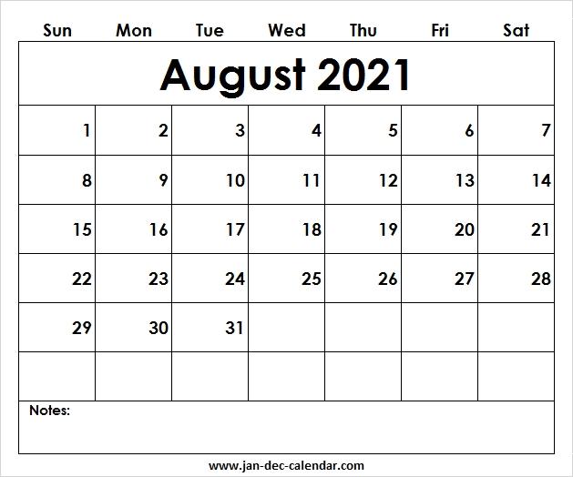 Blank Printable August Calendar 2021 Template Free August 2021 Calendar Reading