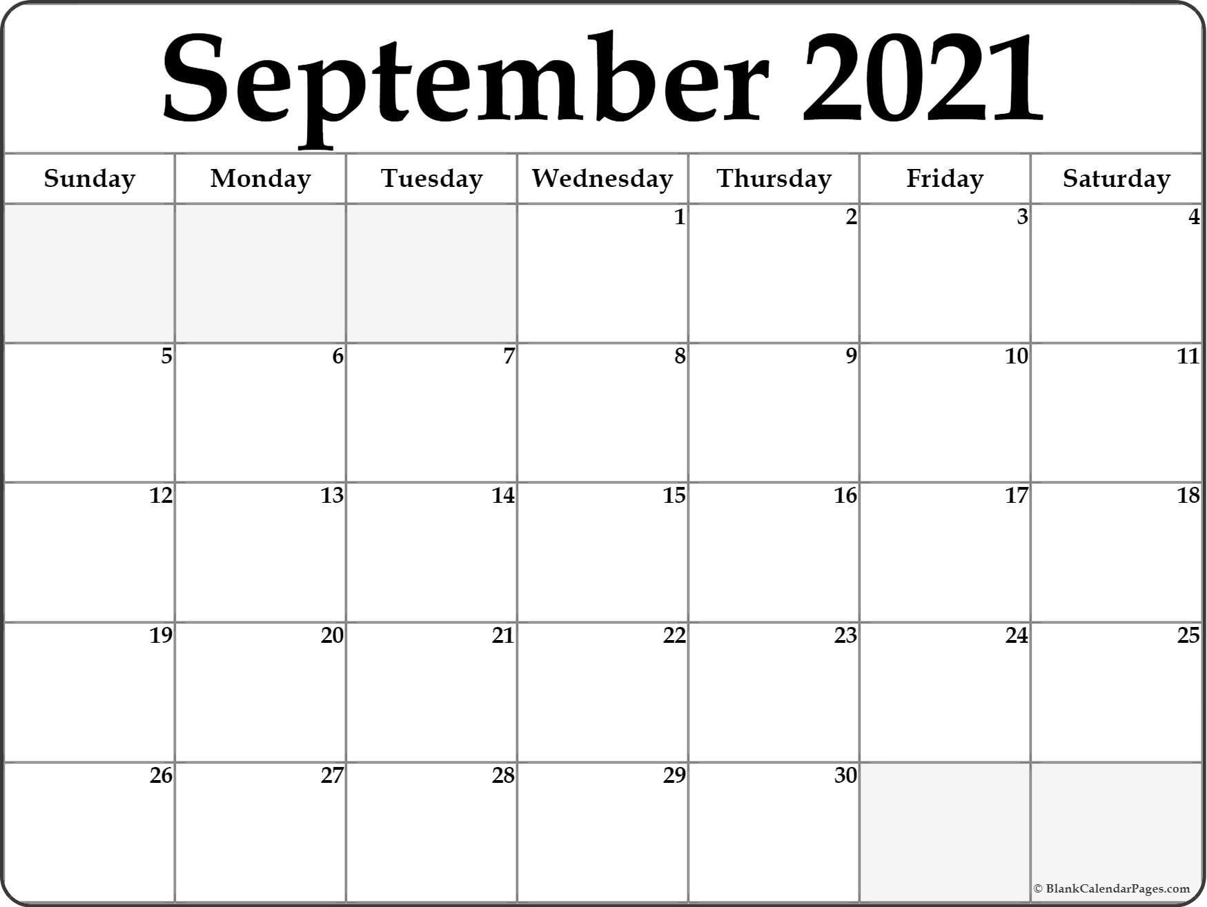 Blank September 2021 Calendar Free Printable   Printable Calendar September 2021 Lunar Calendar