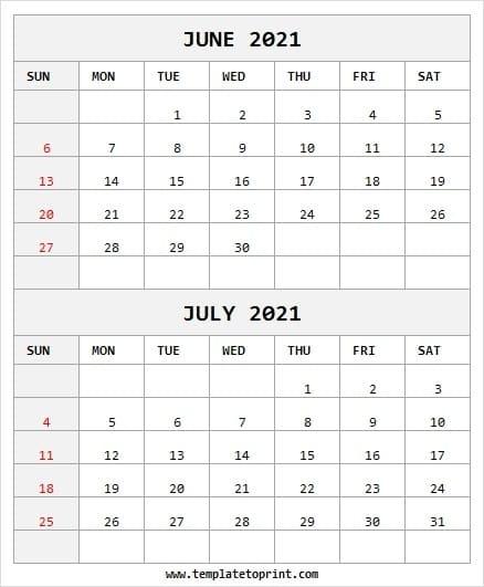 Calendar 2021 June July Month | 2021 Printable Calendar Blank Calendar July 2020 To June 2021