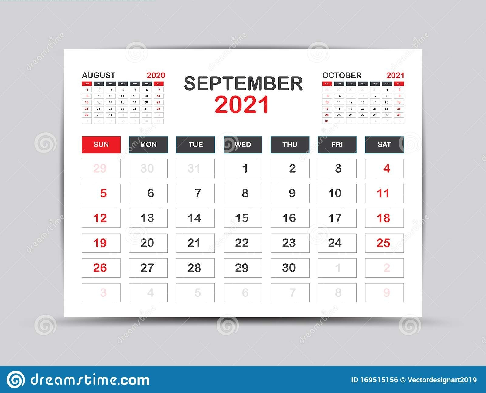 Calendar 2021 Template. September Page Vector For Calendar 2021 Template. Table, Wall, Desk September 2021 Calendar Starting Monday