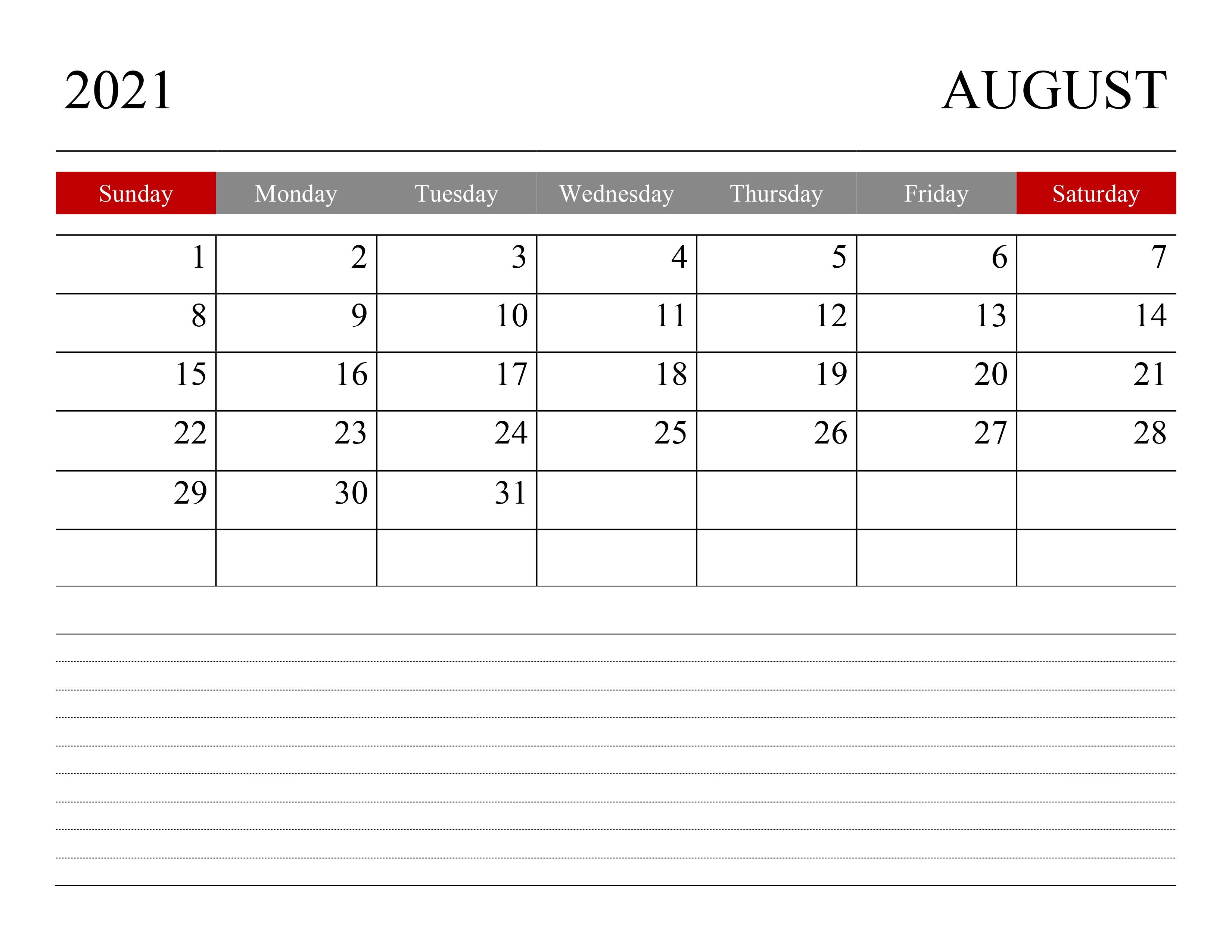 Calendar For August 2021 - Free-Calendar.su September 2021 Calendar Printable Wiki