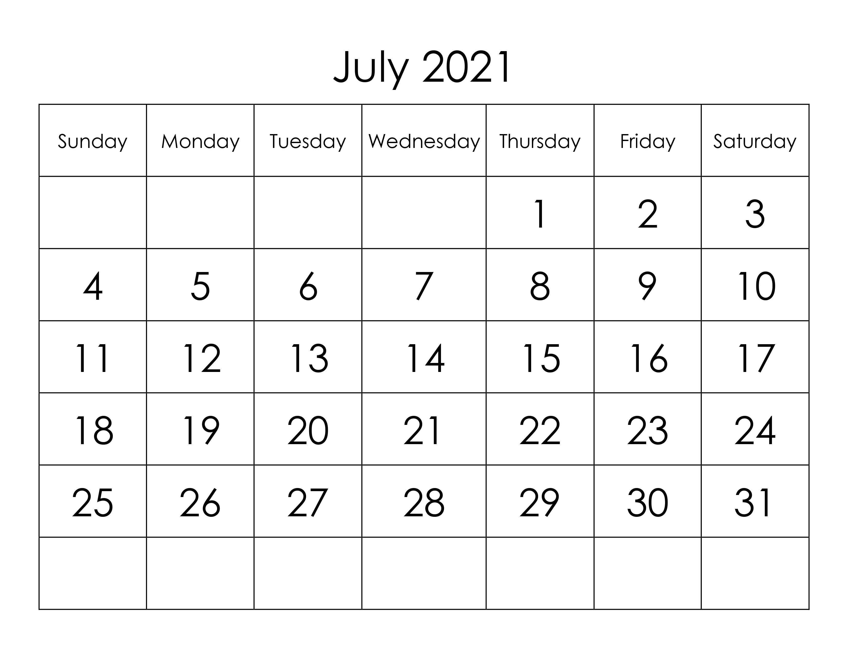 Calendar For July 2021 - Free-Calendar.su July 2021 Calendar Vertical