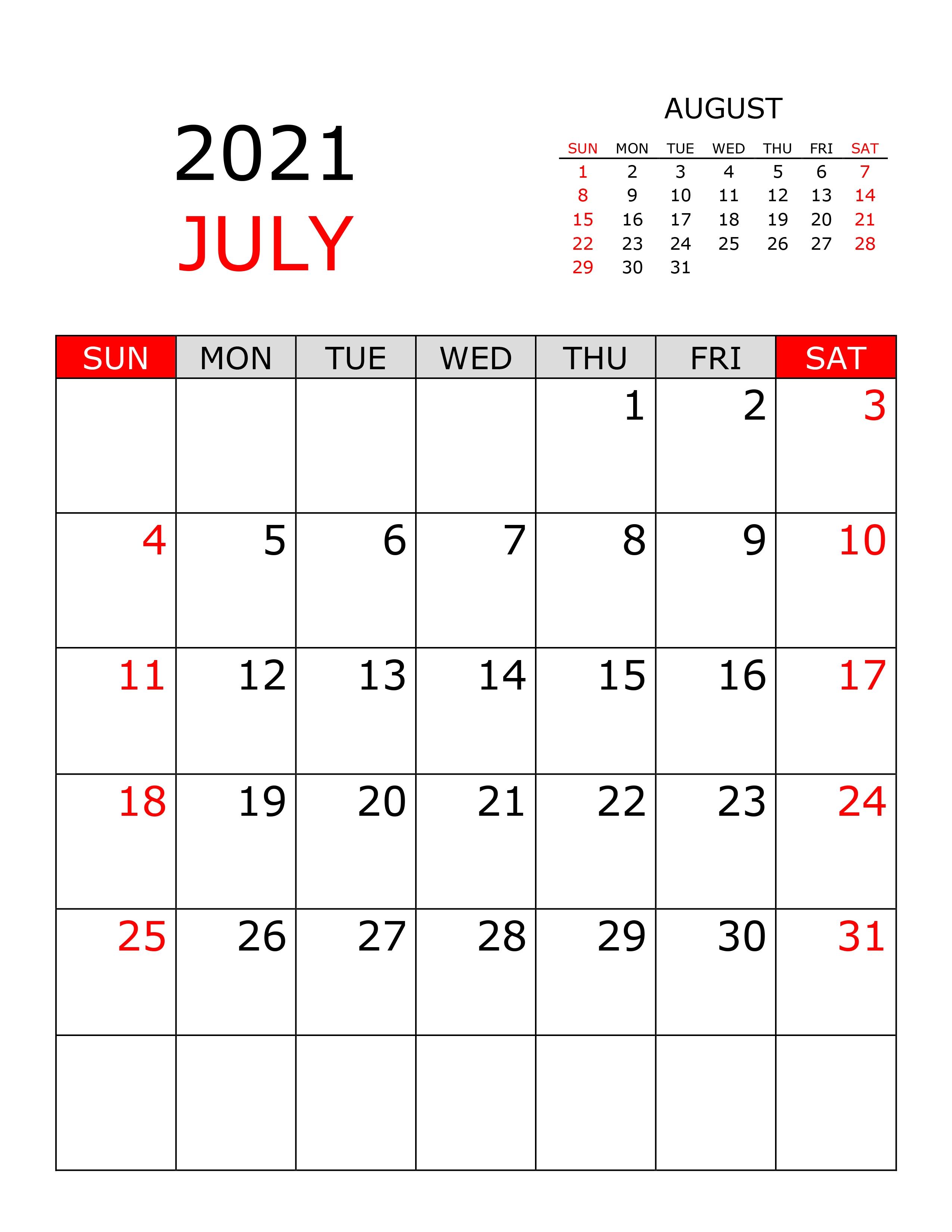 Calendar For July 2021 - Free-Calendar.su July 2021 Vertical Calendar