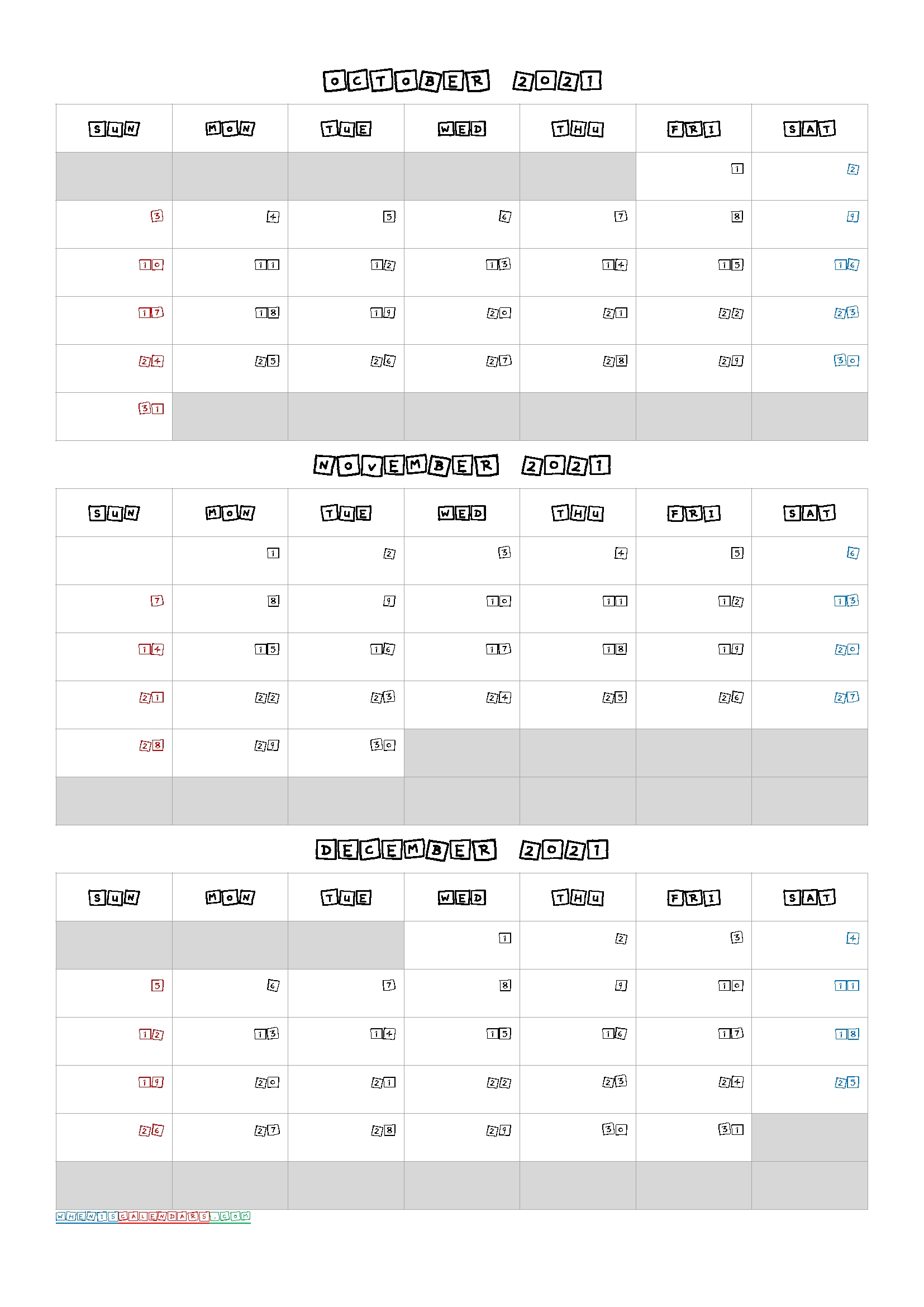 Calendar For October November December 2021 | Printable March October November December 2021 Calendar