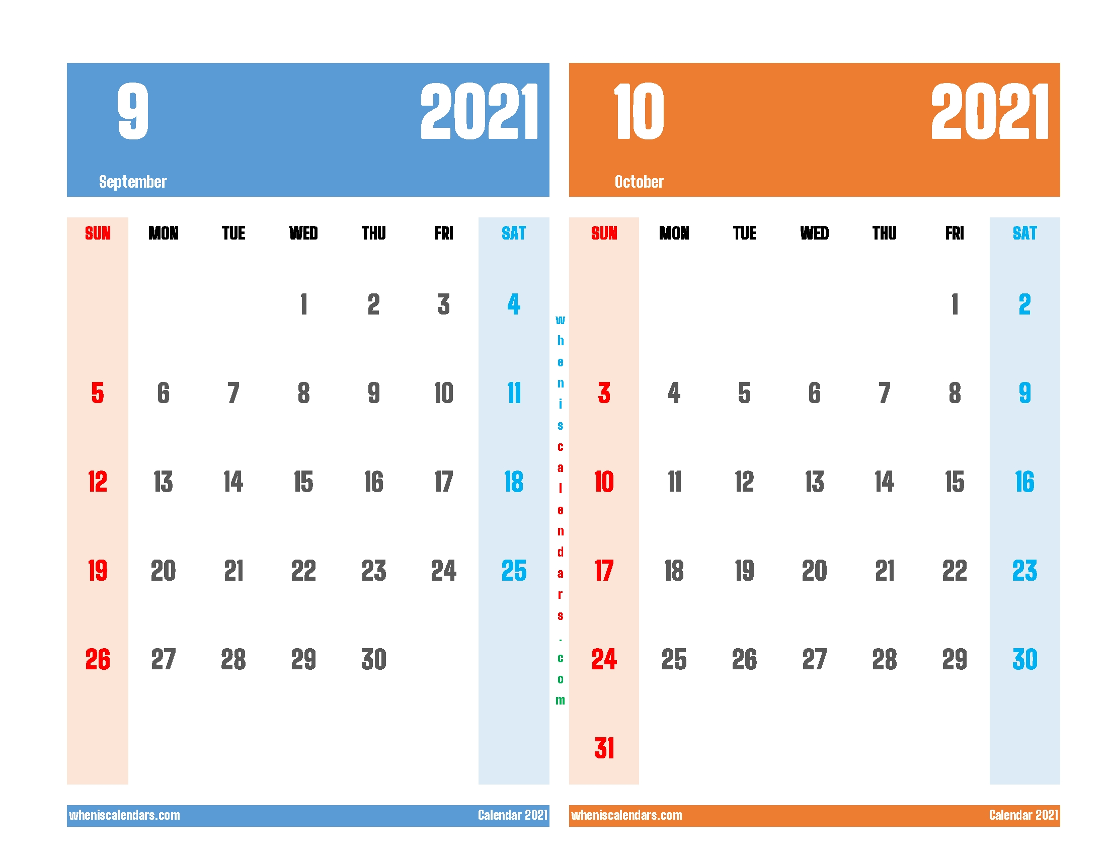 Calendar For September And October 2021 September And October 2021 Calendar