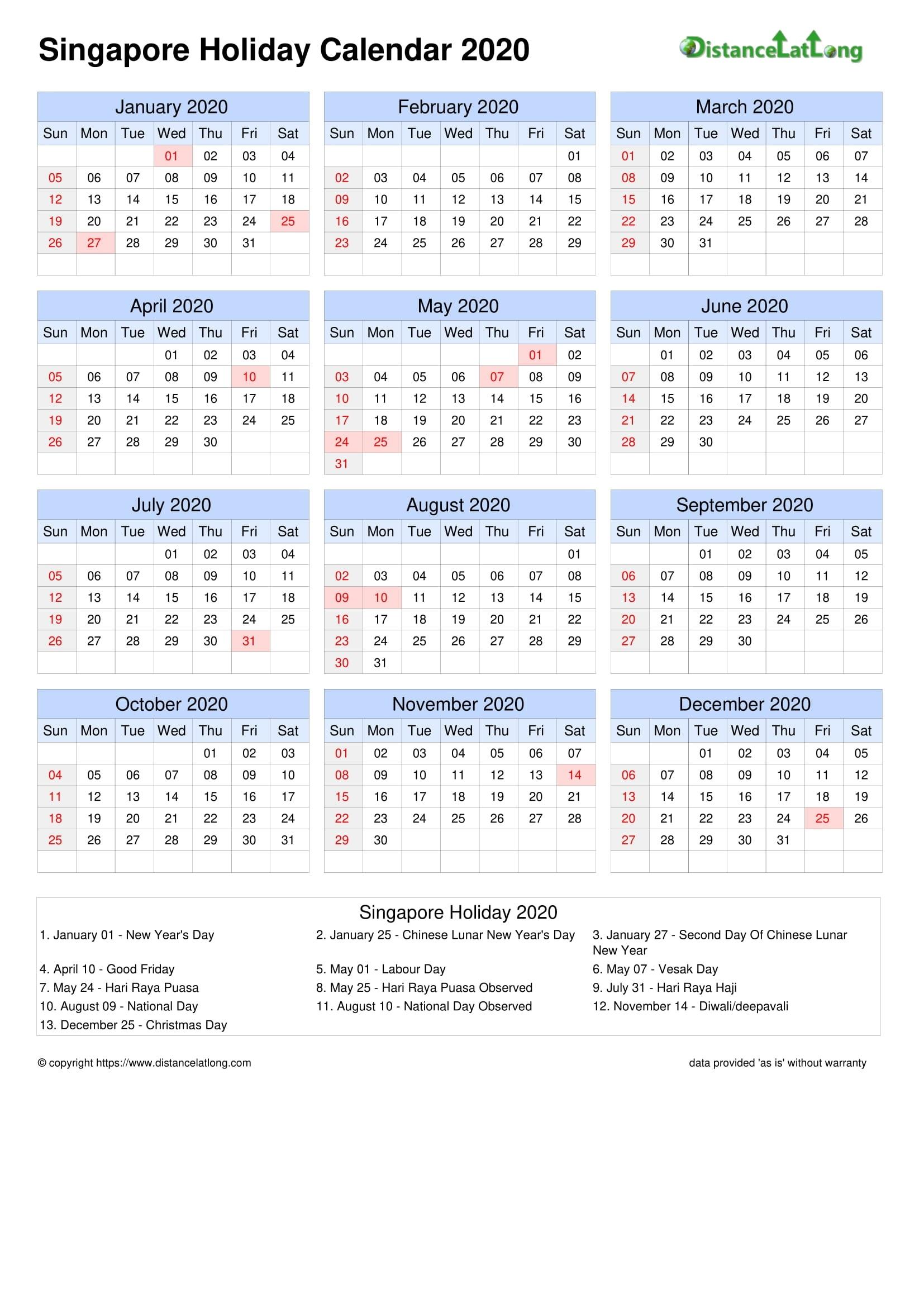 Calendar Horizontal Grid Sunday To Saturday Bank Holiday Singapore A4 Portrait 2020 September 2021 Calendar Singapore