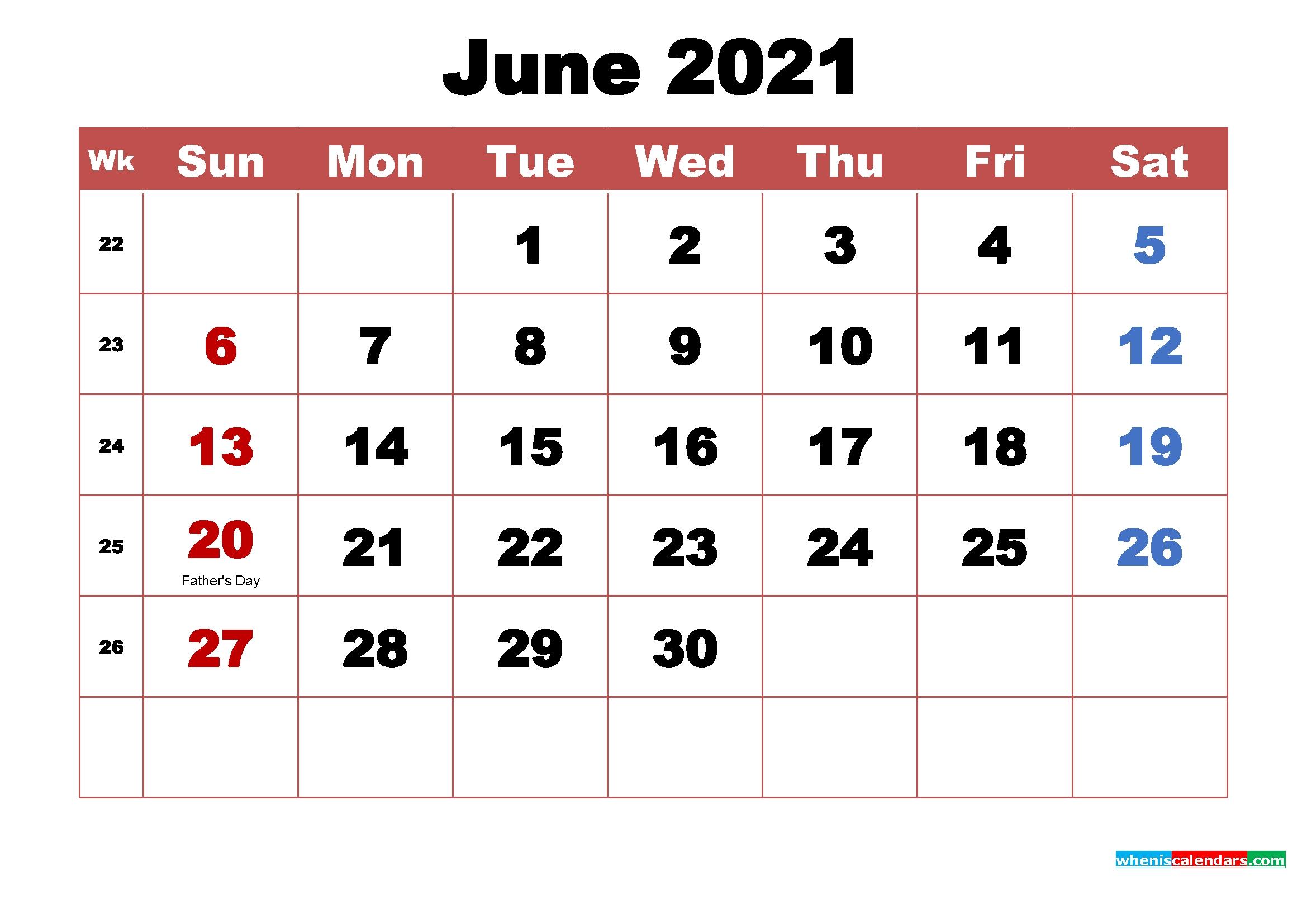Calendar June 2021 With Holidays - United States Map Editable June 2021 Calendar