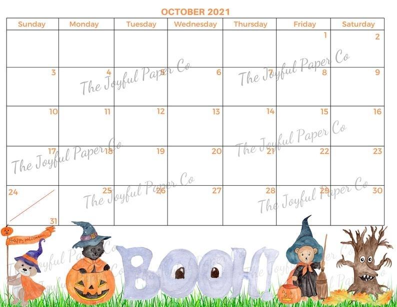 Calendar Printable October 2021 Halloween Planner | Etsy October 2021 Chinese Calendar