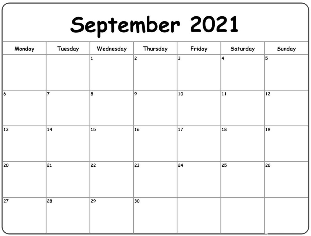 Calendar September 2021 | Printable Calendars 2021 September 2021 Calendar Image