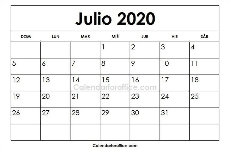 Calendario 2020 Julio Para Imprimir | 2019 Calendar, Calendar, June 2019 Calendar June 2021 Calendar In Spanish