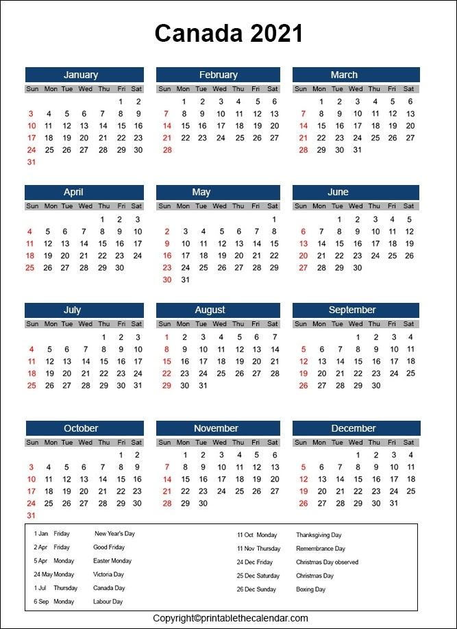 Canada 2021 Calendar | Printable The Calendar June 2021 Calendar Canada