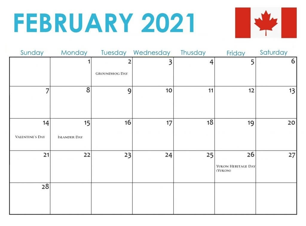 Canada Holidays 2021 Calendar July 2021 Calendar Canada Printable
