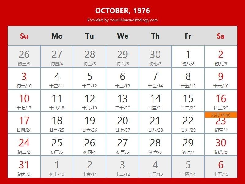 Chinese Calendar October 1976: Lunar Dates, Auspicious Dates And Times October 2021 Chinese Calendar