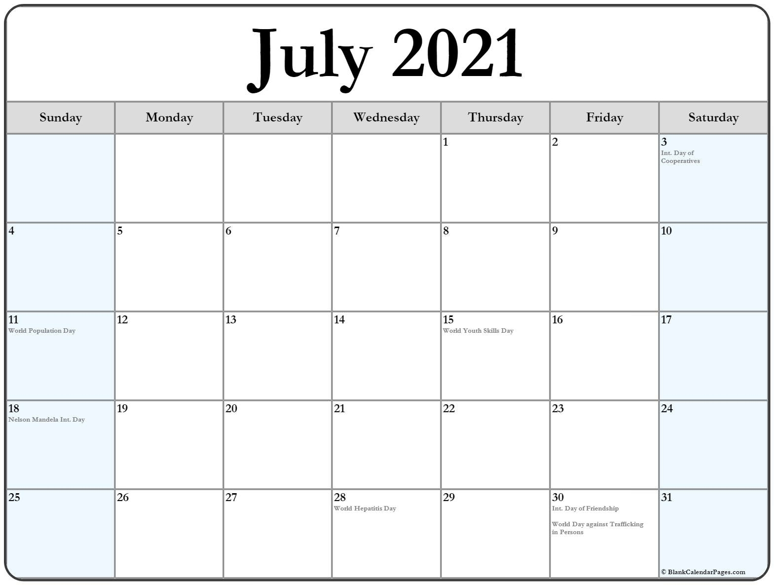 Collection Of July 2021 Calendars With Holidays Blank Calendar July 2020 To June 2021