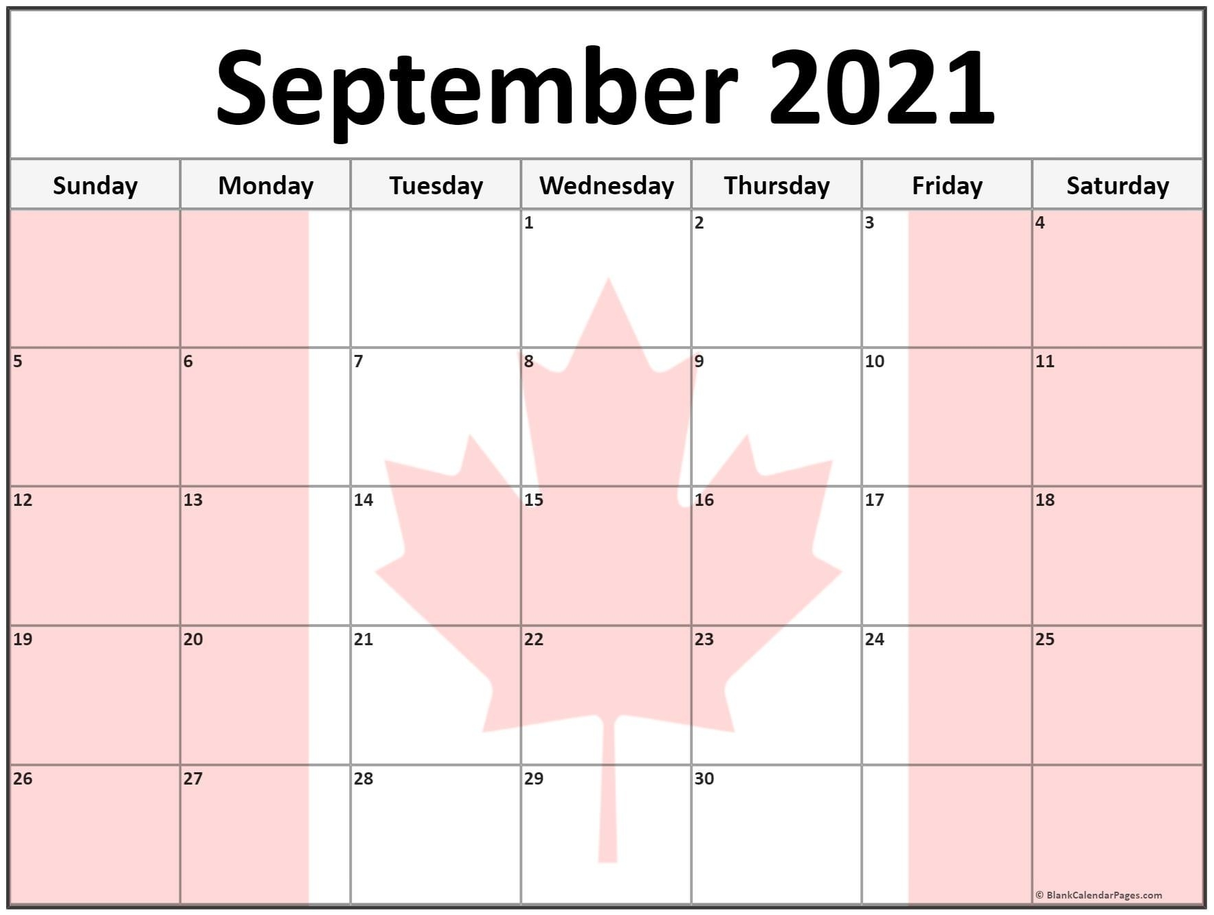 Collection Of September 2021 Photo Calendars With Image Filters. September 2021 Calendar Image