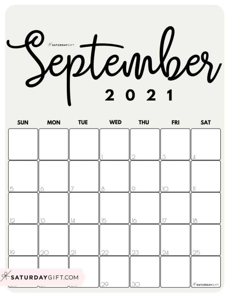 Cute (& Free!) Printable September 2021 Calendar | Saturdaygift September 2021 Calendar Image