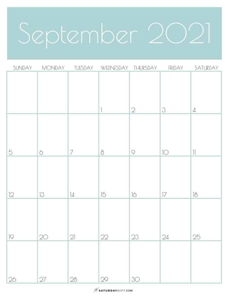 Cute (& Free!) Printable September 2021 Calendar   Saturdaygift September 2021 Calendar Starting Monday