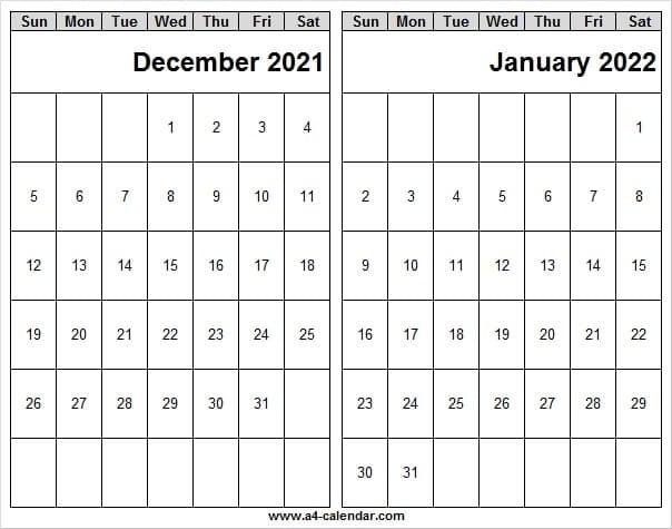 Dec 2021 And Jan 2022 Calendar Printable - Calendar Dec 2021 Editable December 2021 And January 2022 Calendar