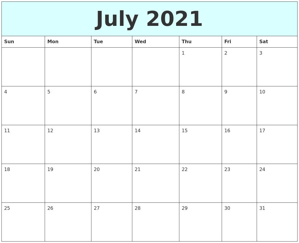 December 2020 Calendar Blank Calendar July 2020 To June 2021