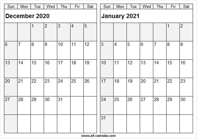 December 2020 January 2021 Calendar A4 Size - To Do List January Thru December 2021 Calendar