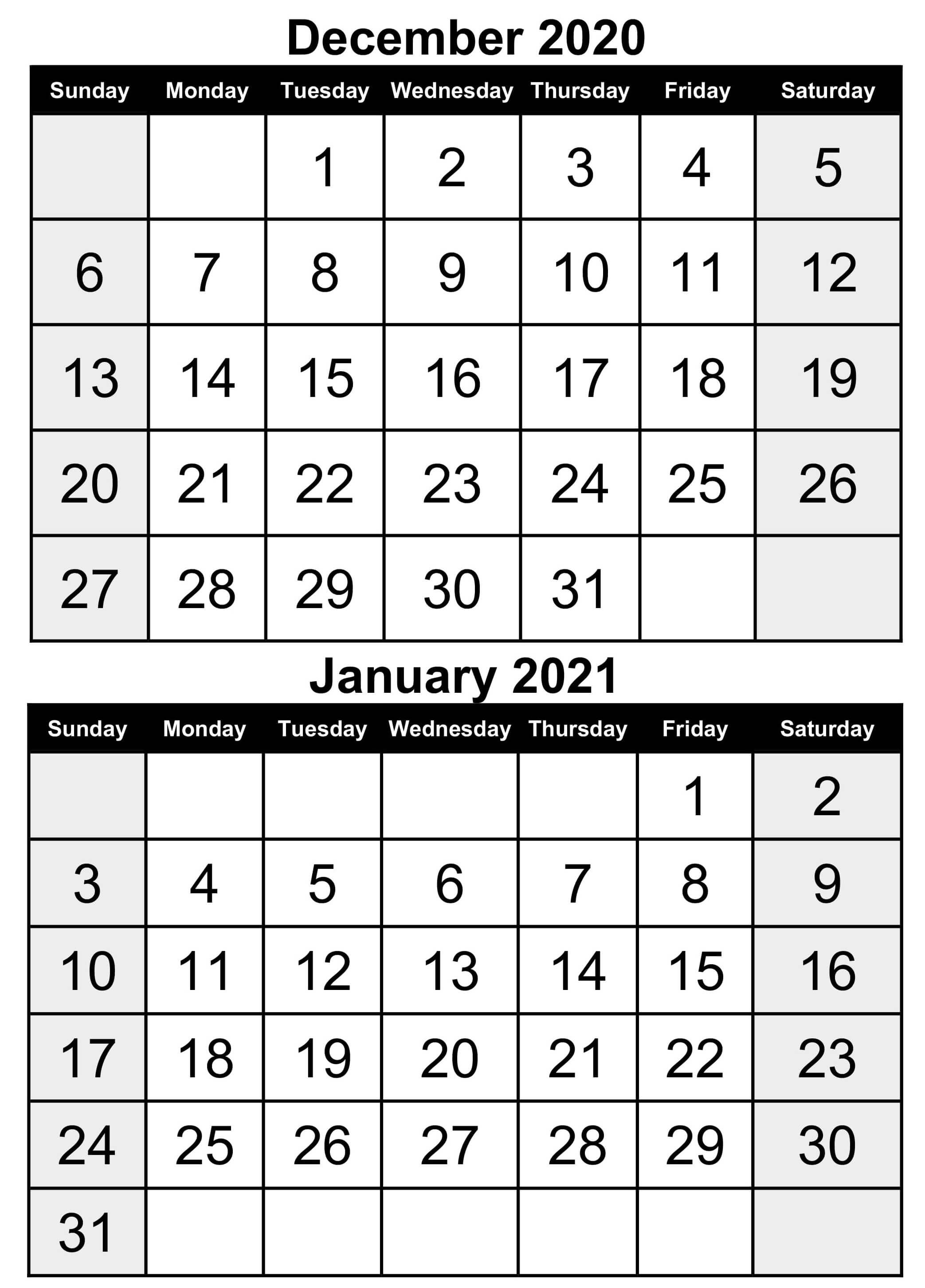 December 2020 January 2021 Calendar Word | Free Printable Calendar Shop December 2020 January 2021 Calendar Printable