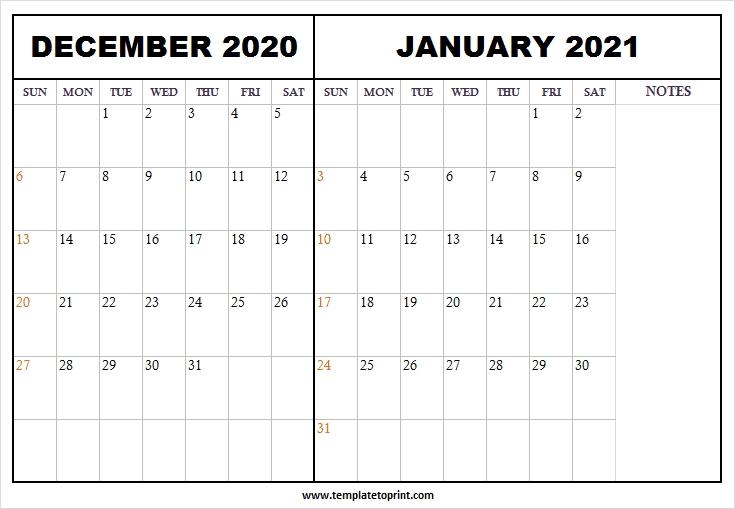 December 2020 January 2021 Calendar Word - Printable Calendar 2020 December 2020 January 2021 Calendar Printable