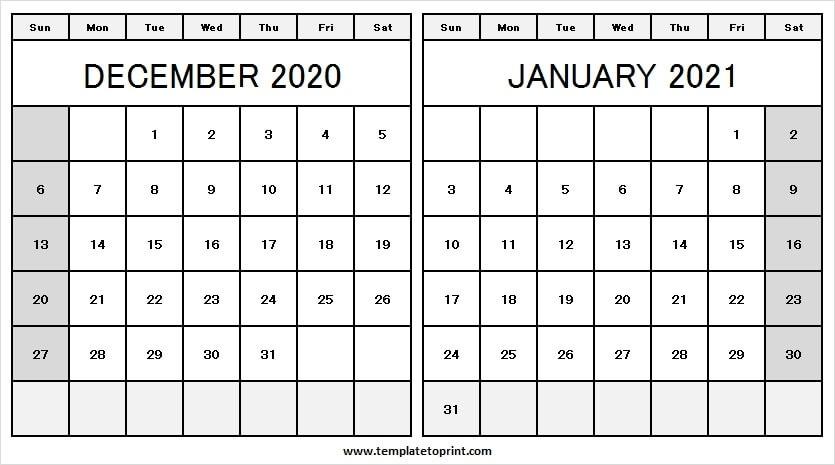 December 2020 January 2021 Calendar Word - Printable Calendar 2020 January Thru December 2021 Calendar