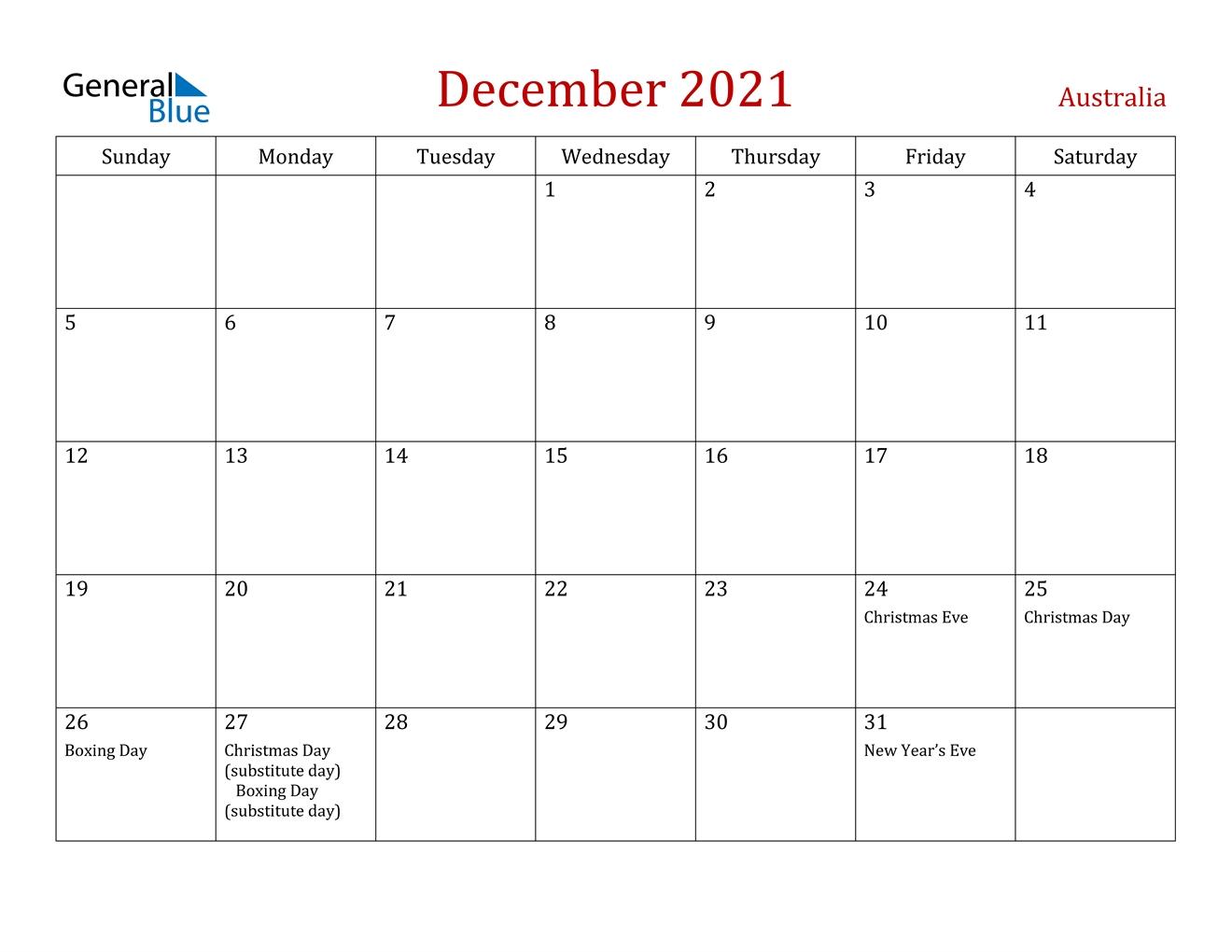 December 2021 Calendar - Australia December 2021 Calendar Printable