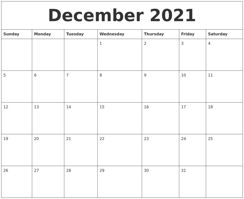 December 2021 Calendar Blank December 2021 Calendar Printable