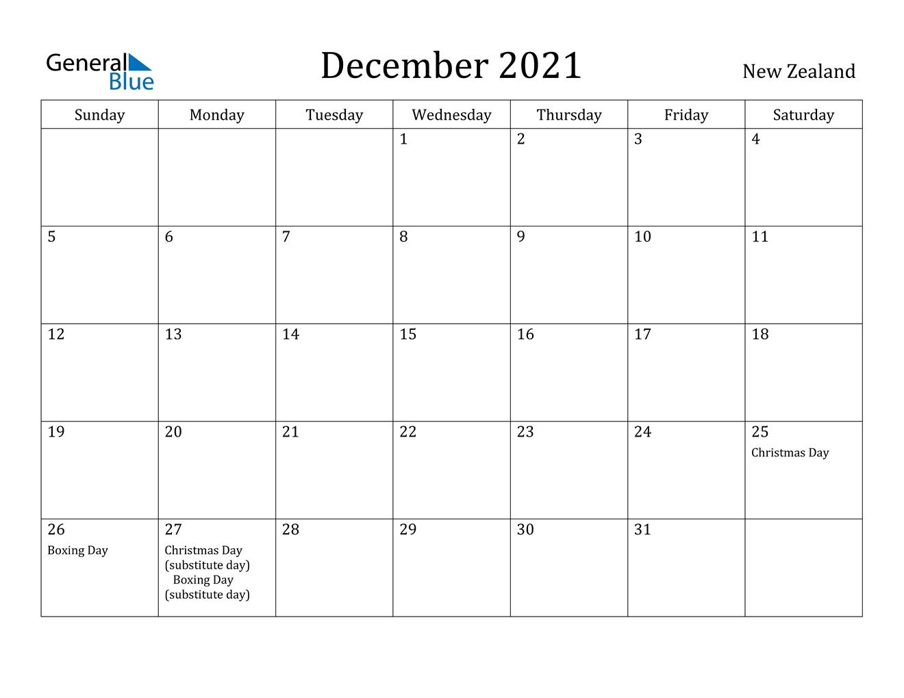 December 2021 Calendar - New Zealand August 2021 Calendar Nz