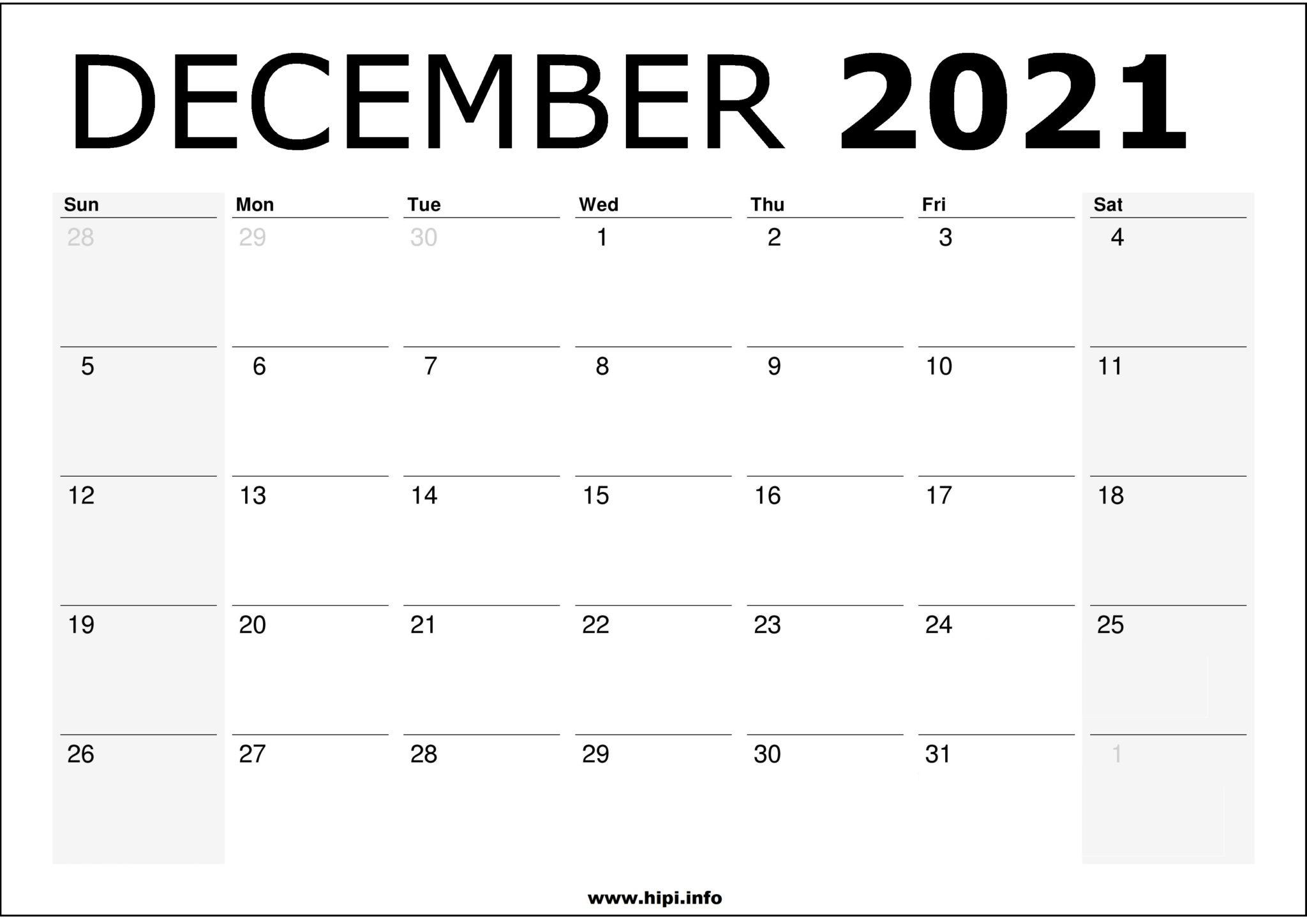 December 2021 Calendar Printable - Monthly Calendar Free Download - Hipi | Calendars December 2021 Calendar Printable