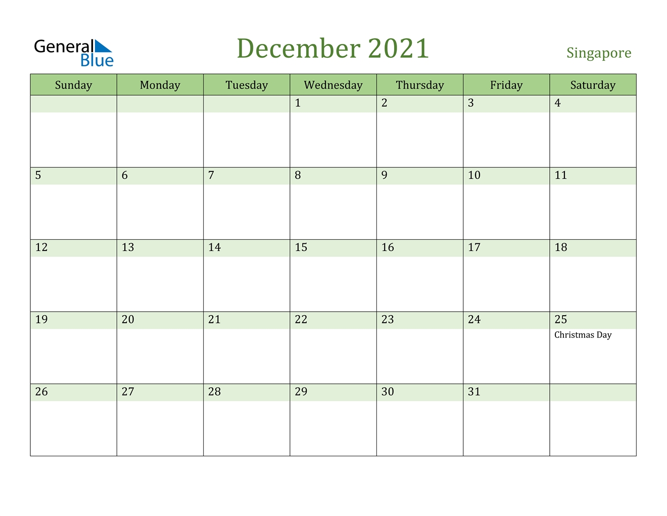 December 2021 Calendar - Singapore December 2021 Calendar Printable