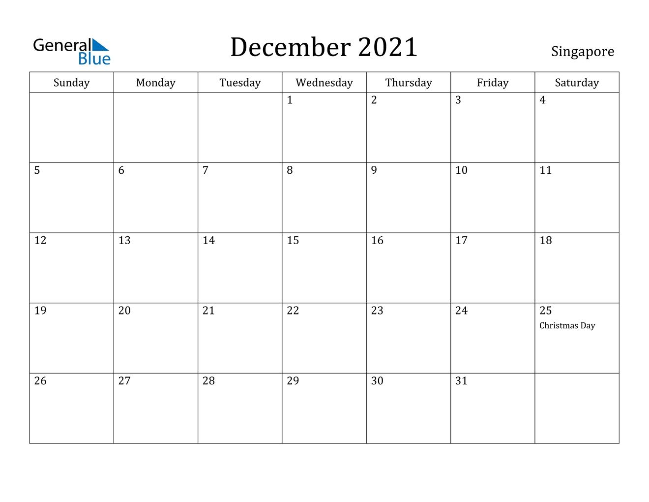 December 2021 Calendar - Singapore September 2021 Calendar Singapore