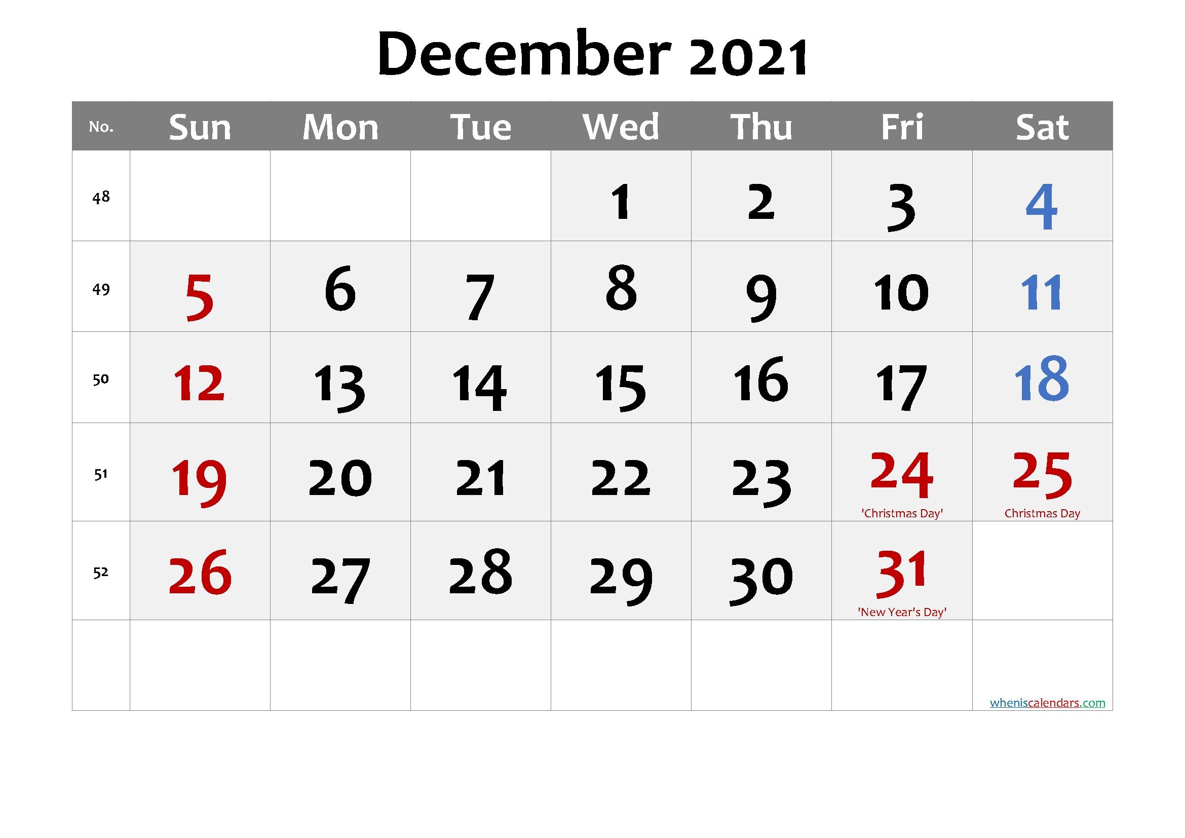 December 2021 Calendar With Holidays | Printable Calendars 2021 December 2021 Calendar Printable