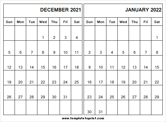December 2021 January 2022 Calendar Blank - Free 2021 Calendar December 2021 And January 2022 Calendar