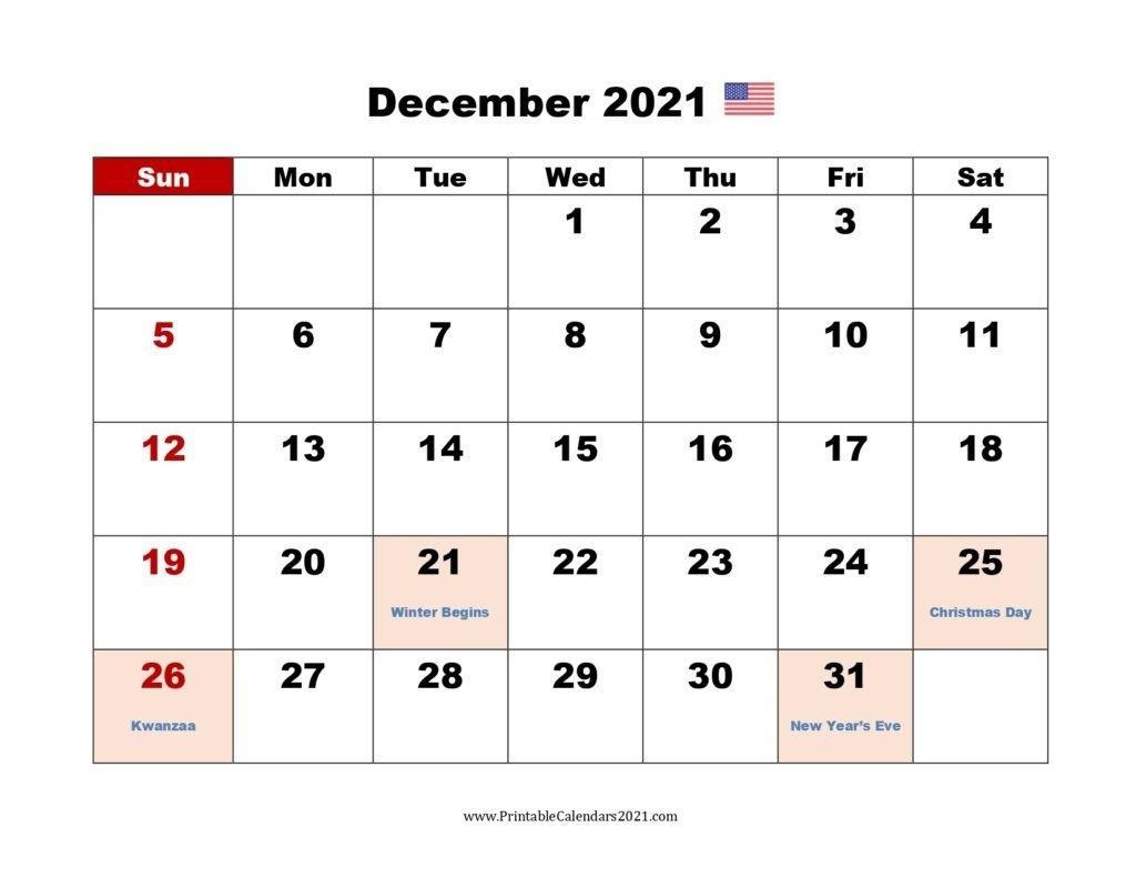 December 2021 Modern Typography Calendar | 2021 Calendar December 2021 Calendar Printable
