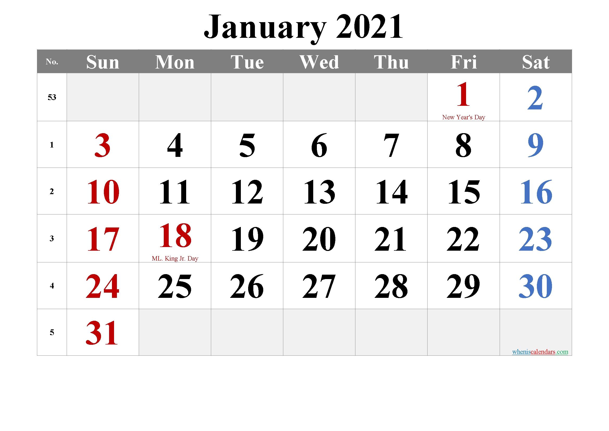 December 2021 Printable Calendar With Holidays - 6 Templates   Free Printable 2020 Calendar With Printable January Through December 2021 Calendar