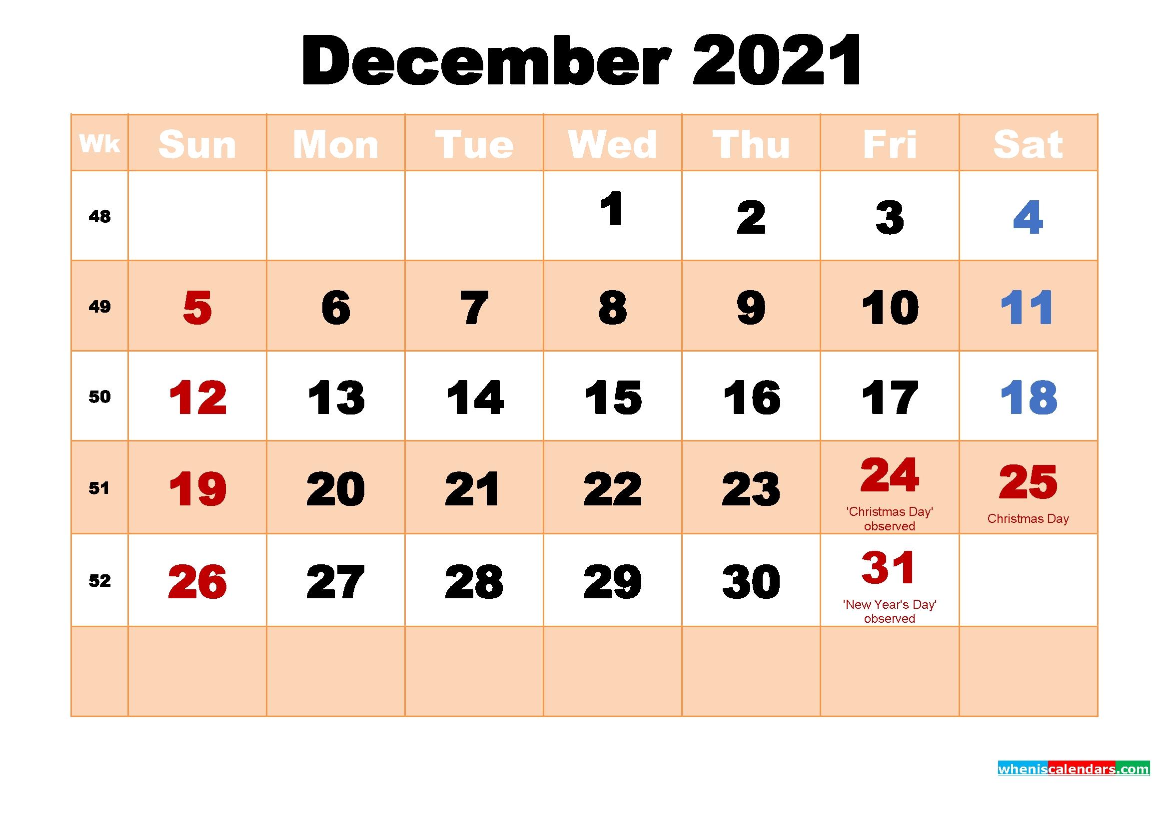 December 2021 Printable Calendar With Holidays | Free Printable 2020 Calendar With Holidays December 2021 Calendar Printable