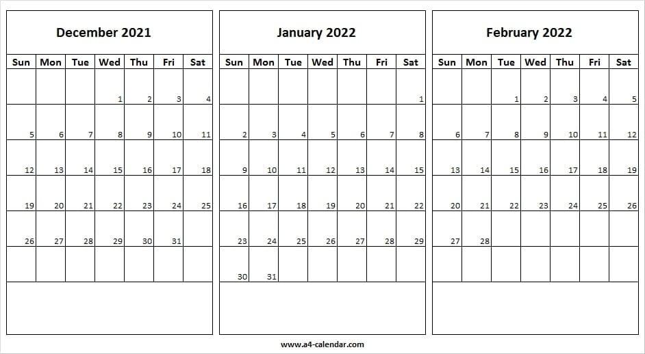 December 2021 To February 2022 Calendar A4 - Dec 2021 Calendar Usa December 2021 And January 2022 Calendar