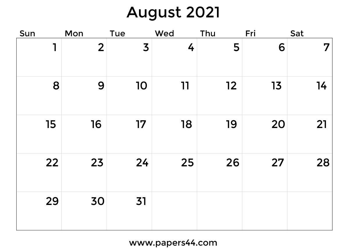 Download 2021 August Calendar Samples August 2021 Calendar Images