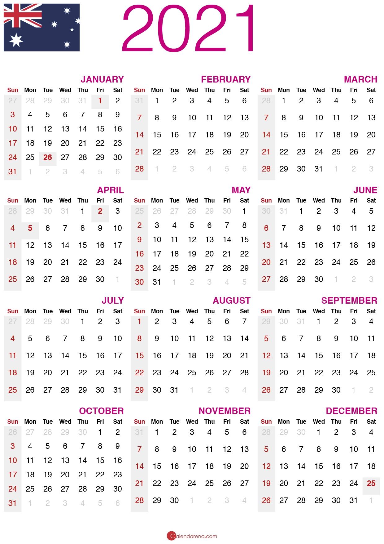 Download Free 2021 Calendar Australia 🇦🇺 Show Me July 2021 Calendar