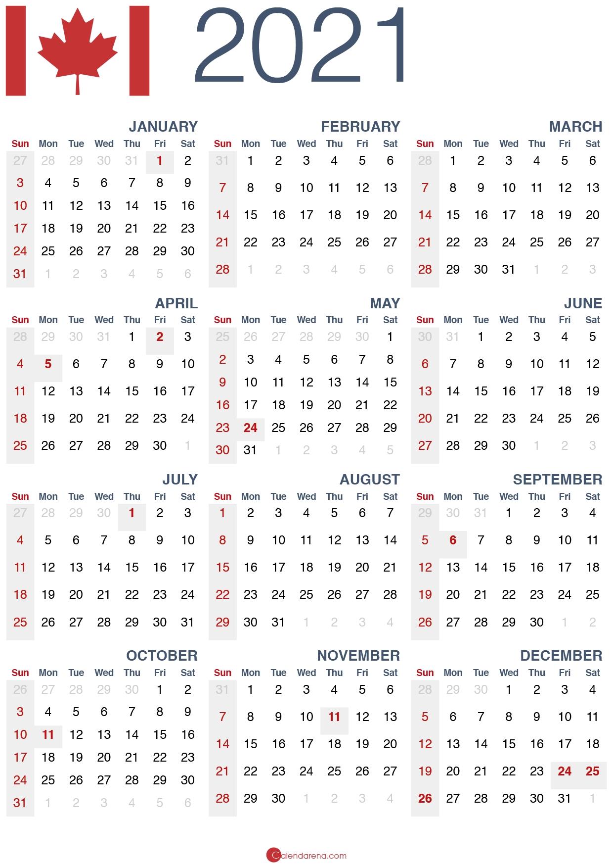 Download Free 🇨🇦 2021 Calendar Canada 🇨🇦 - Calendarena June 2021 Calendar Canada