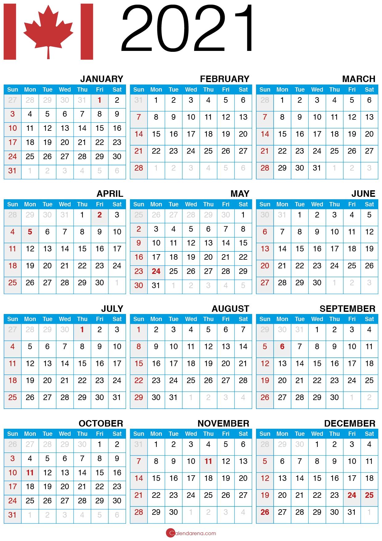 Download Free 🇨🇦 2021 Calendar Canada June 2021 Calendar Canada