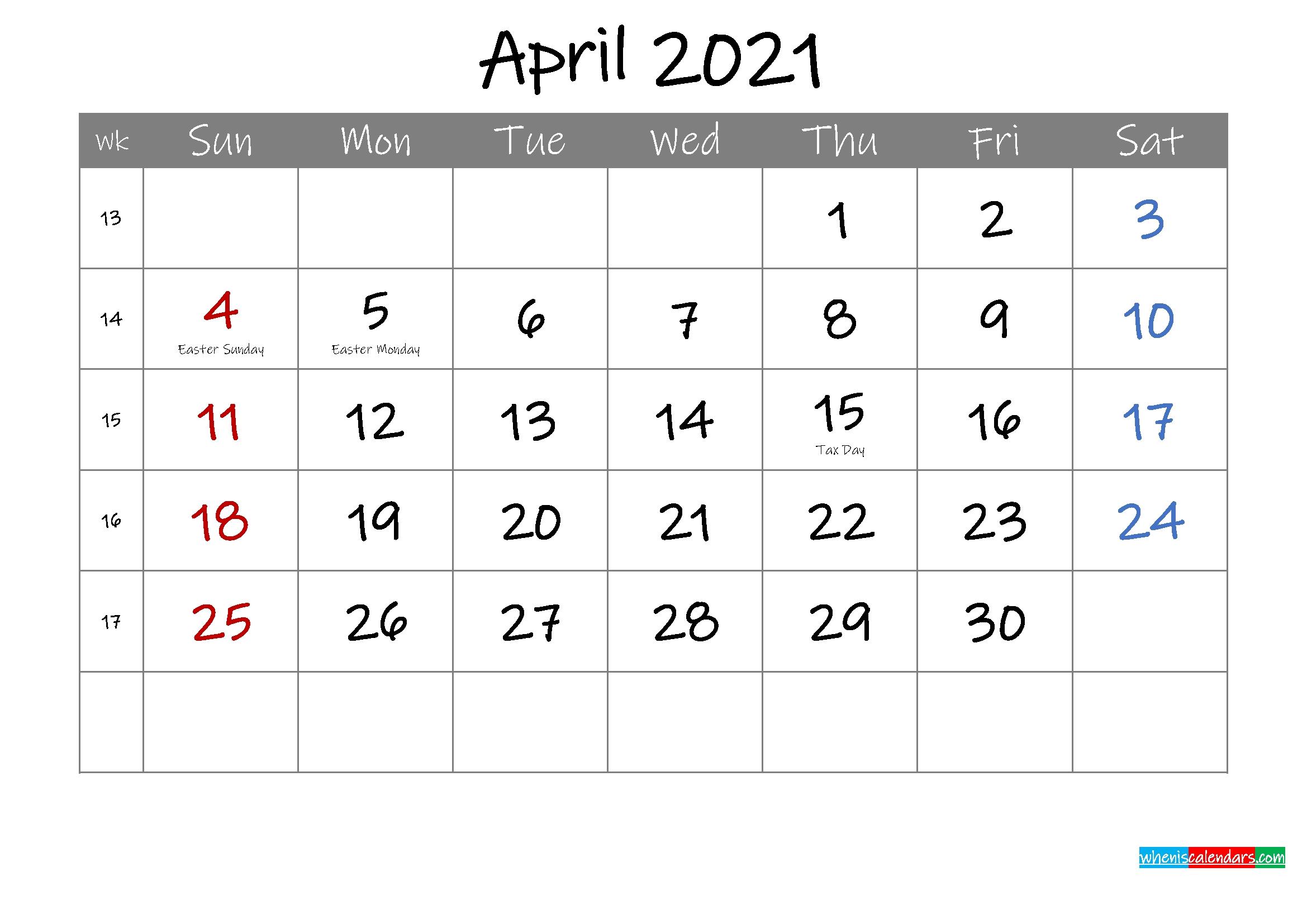 Editable April 2021 Calendar With Holidays - Template Ink21M4   Free Printable 2020 Calendar Calendar November 2020 To April 2021