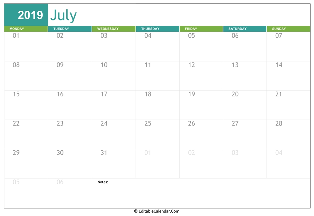 Editable Calendar July 2019 June 2021 Calendar Copy And Paste