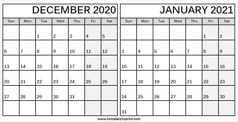 Editable December 2020 January 2021 Calendar - Two Month Calendar December 2020 January 2021 Calendar Printable